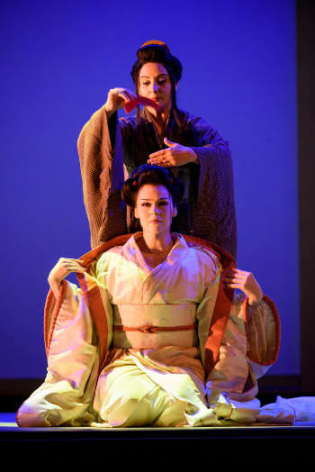 Enkelejda Shkosa as Suzuki and Kristine Opolais as Cio-Cio-San [Photo © ROH. Photographer Bill Cooper.