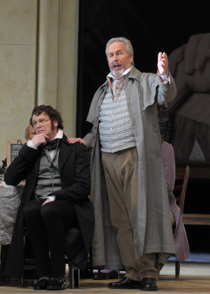 Bo Skovhus as Beckmesser and James Morris as Hans Sachs [Photo by Dan Rest courtesy of Lyric Opera of Chicago]