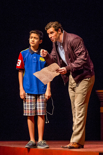 Paul La Rosa as the Congressman and Sebastien De La Cruz as his son, Daniel. [Photo © Todd Rosenberg]
