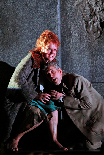 Petra Lang as Ortrud and Gerd Grochowski as Friedrich von Telramund [Photo by Cory Weaver courtesy of San Francisco Opera]