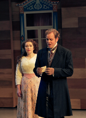 Dina Kuznetsova as Tatiana and Christopher Magiera as Onegin [Photo by Ken Howard courtesy of Opera Theatre of Saint Louis]