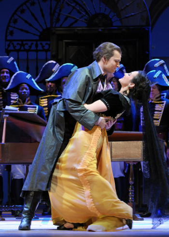 "Alek Shrader and Isabel Leonard in Rossini's ""The Barber of Seville"" at Lyric Opera. Photo: Dan Rest"