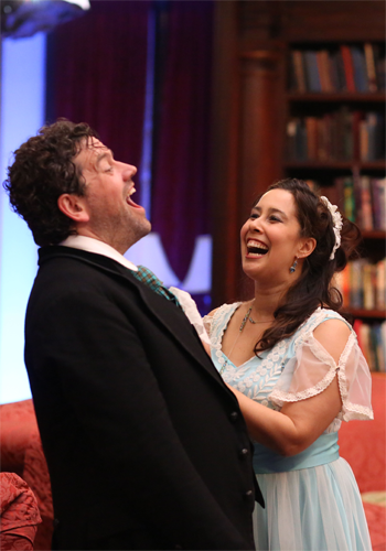 Andrew Wilkowske as Figaro and Monica Yunus as Rosina [Photo by Rebecca Fay]