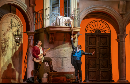 Adam Plachetka, Marianne Crebassa, and Lawrence Brownlee [Photo © Todd Rosenberg courtesy of Lyric Opera of Chicago]