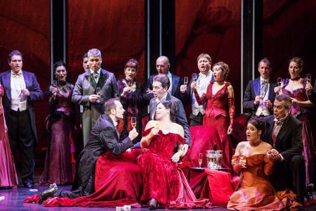 A scene from Act I of <em>La Traviata</em> [Photo by Darja Štravs Tisu courtesy of Slovenian National Theatre Ljubljana]