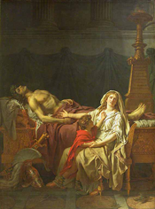 La Douleur et les regrets d'Andromaque sur le corps d'Hector son mari by Jacques-Louis David (1783) [Musée du Louvre]