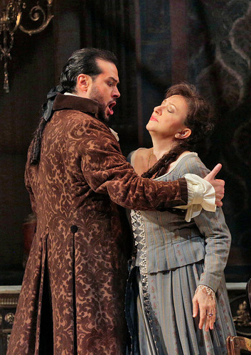 Baritone Aris Argiris (Count Anckarstrom) and soprano Krassimira Stoyanova (Amelia) in San Diego Opera's A MASKED BALL. March, 2014. [Photo copyright Ken Howard]
