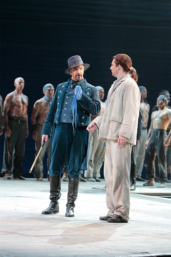 Greer Grimsley as John Claggart and Liam Bonner as Billy Budd. [Photo by Robert Millard]