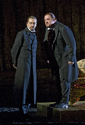 John Graham-Hall as Prince Vasily Shuisky and Peter Rose as Boris Godunov [Photo by Clive Barda]