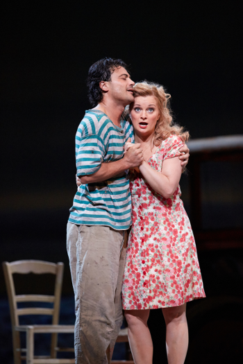 Vittorio Grigolo as Nemorino and Lucy Crowe as Adina [Photo by Mark Douet © ROH]