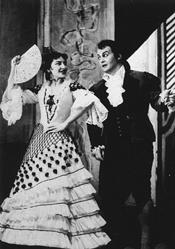 Maria Callas (Rosina) and Tito Gobbi (Figaro)