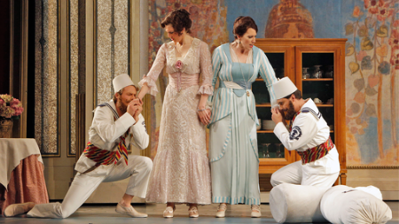 Philippe Sly as Guglielmo, Christel Lötzsch as Dorabella, Ellie Dehn as Fiordiligi and Francesco Demuro as Ferrando [Photo by Cory Weaver]