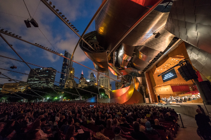 View of audience at Millennium Park [Photo by Todd Rosenberg courtesy of Lyric Opera of Chicago]