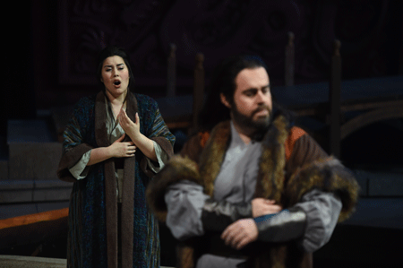Vanessa Vasquez (Liu) and Jonathan Burton (Calaf) [Photo by Duane Tinkey]