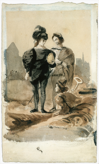 Eugène Delacroix, Hamlet and Horatio in the Graveyard (1827–28) [Courtesy of The Metropolitan Museum of Art]