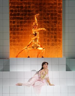 Krassimira Stoyanova as Danae with dancers. [Photo courtesy of the Salzburger Festspiele, copyright Festspiele / Forster]