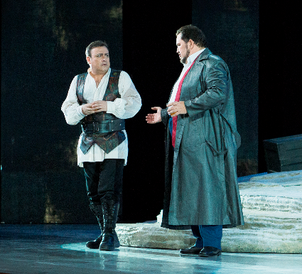 Daniel Magdal as Otello and Valentin Vasiliu as Iago [Photo by Gin Photo courtesy of the Romanian National Opera Bucharest]
