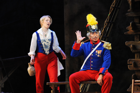 Susannah Biller as Marie and Stefano De Peppo as Sergeant Sulpice [Photo by Tim Trumble for Arizona Opera]