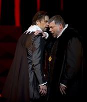 Peter Mattei as Posa, René Pape as Filip II (Don Carlo, Oslo)