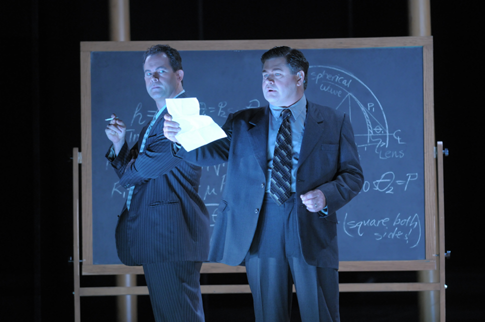 Gerald Finley (l.) stars as Robert Oppenheimer and Richard Paul Fink (r.) stars as Edward Teller in the Peter Sellars-directed Doctor Atomic, a Lyric Opera of Chicago premiere for the 2007-08 season. Photo by Dan Rest/Lyric Opera of Chicago.