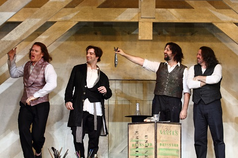 Duncan Rock as Schaunard, Fernando Radó as Colline, Etienne Dupuis and Matthew Polezani as Rodolfo.jpg
