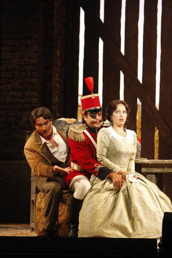 Giuseppe Filianoti as Nemorino, Malcolm MacKenzie as Belcore and Tatiana Lisnic as Adina [Photo by Cory Weaver]