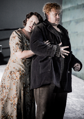 Elza van den Heever as Ellen Orford and Stuart Skelton as Peter Grimes [Photo by Robert Workman courtesy of English National Opera]