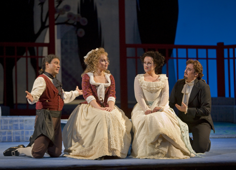 Matthew Polenzani as Belmonte, Steve Davislim as Pedrillo, Aleksandra Kurzac as Blondchen and Diana Damrau as Konstanze in Mozart's 'Die Entführung aus dem Serail.'