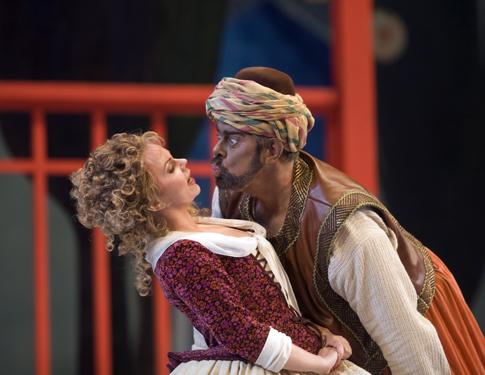 Aleksandra Kurzak as Blondchen and Kristinn Sigmundsson as Osmin in Mozart's 'Die Entführung aus dem Serail.'