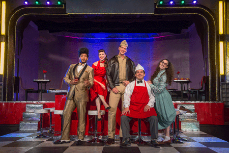 Rocky Sellers as Dulcamara, Amanda Kingston as Adina, Andrew Potter as Belcore, Kyle Patteron as Nemorino, Jenna Friedman as Gianetta [Photo by Martha Benedict]