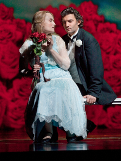Marina Poplavskaya as Marguerite and Jonas Kaufmann as Faust [Photo by Ken Howard/Metropolitan Opera]