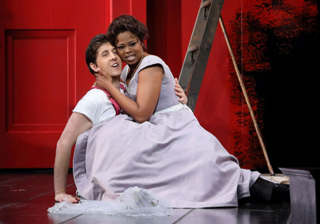 Roberto Tagliavini as Figaro and Pretty Yende as Susanna [Photo: Craig T. Mathew / LA Opera]