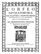 Frontispiece of L'Orfeo, 1609 Venice edition