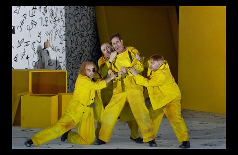 Roger Smeets (Der Einäugige), Alexander Vassiliev (Der Einarmige), Terje Stensvold (Barak der Färber), Torsten Hofmann (Der Bucklige) [Photo: Clärchen & Matthias Baus]