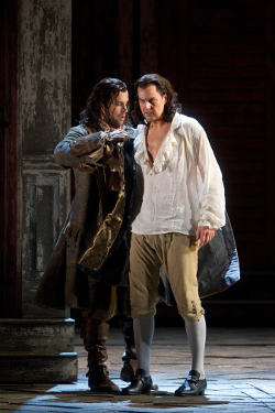 Luca Pisaroni as Leporello and Peter Mattei as Don Giovanni [Photo by Marty Sohl/Metropolitan Opera]