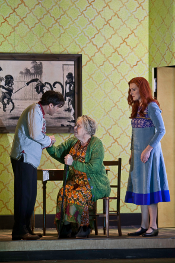 Roberto Sacc as Alexey, Susan Bickley as Babulenka and Angela Denoke as Paulina [Photo by Clive Barda courtesy of Royal Opera House]