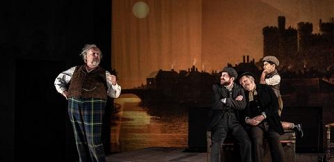 Henry Waddington (Falstaff) Nicholas Crawley (Pistola) Adrian Thompson (Bardolfo) Ansh Shetty (Page) credit Clive Barda.jpg