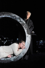 Claire Booth (lying) and Susan Bickley (standing) [Photo by Alaistair Muir courtesy of The Royal Opera]
