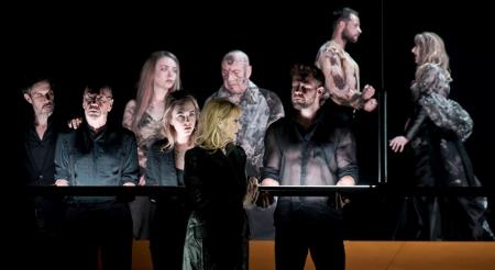 Actors Ben Porter, Christopher Ettridge, Elisabeth Hopper, Julie Legrand, James McGregor  [Photo by Frédéric Iovino]