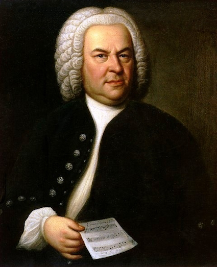 Johann Sebastian Bach (aged 61) in a portrait by Elias Gottlob Haussmann [Source: Wikipedia]