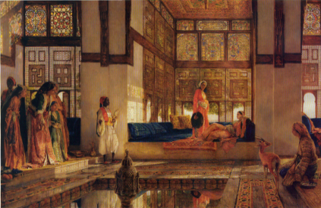 An illustration of the women's quarters in a seraglio, by John Frederick Lewis (1873) [Source: Wikipedia]