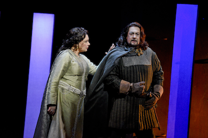 Ekaterina Semenchuk (Lady Macbeth) and Placido Domingo (Macbeth) in LA Opera's 2016 production of Verdi's