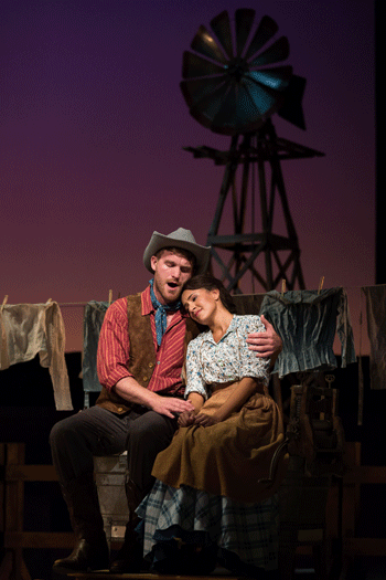 Jarrett Ott as Curly and Vancessa Becerra as Laurey in The Glimmerglass Festival's 2017 production of Rodgers and Hammerstein's