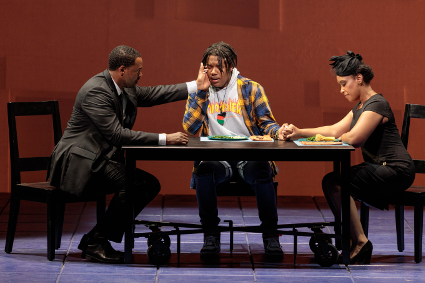 (From left) Kenneth Kellogg as The Father, Aaron Crouch as The Son and Briana Hunter as The Mother [Photo by Karli Cadel/The Glimmerglass Festival]
