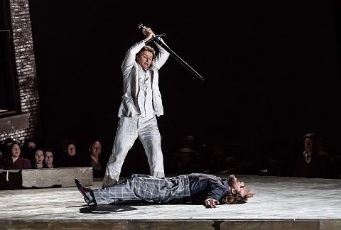 Klaus Florian Vogt as Lohengrin, Thomas J. Mayer as Friedrich von Telramund.jpg
