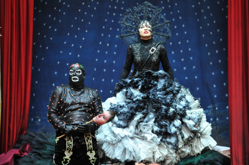 Klaus Kuttler as Monostatos and Julia Novikova as The Queen of Night [Photo © Hans Jörg Michel courtesy of Salzburger Festival]