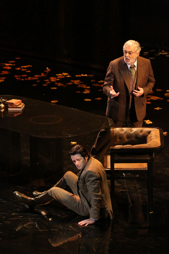 Arturo Chácon-Cruz as Alfredo and as Plácido Domingo as Germont [Photo by Craig Matthew]