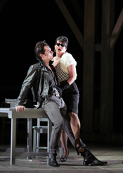 Ryan MacPherson as Luzio and Lauren Skuce as Dorella. Photo: Cory Weaver.