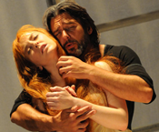 Sierva Maria (Allison Bell) and Father Caytano Delaura (Nathan Gunn) in the 2008 Festival production of <em>Love and Other Demons</em>. (Photo: Mike Hoban)