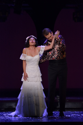 Andrea Lett (Zerlina) and Daniel Okultich (Don Giovanni) [Photo by R. Tinker]